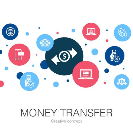 money transfer trendy circle template with simple icons. Contains such elements as online payment, bank transfer, secure transaction, approved