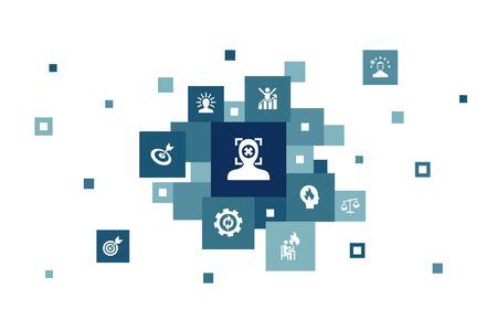 focus Infographic 10 steps bubble design.target, motivation, integrity, process simple icons 向量圖像