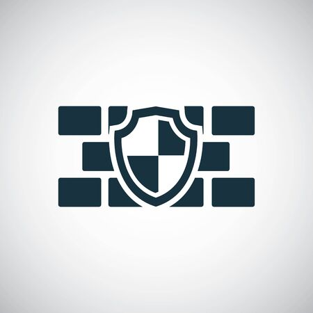 wall shield icon, on white background.