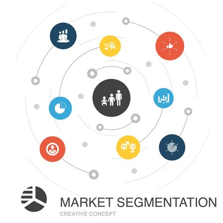 market segmentation colored circle concept with simple icons. Contains such elements as demography, segment, Age group