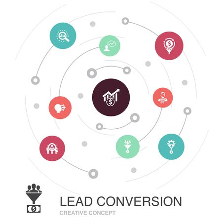 lead conversion colored circle concept with simple icons. Contains such elements as sales, analysis, prospect