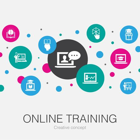 Online Training trendy circle template with simple icons. Contains such elements as Distance Learning, learning process, elearning Иллюстрация