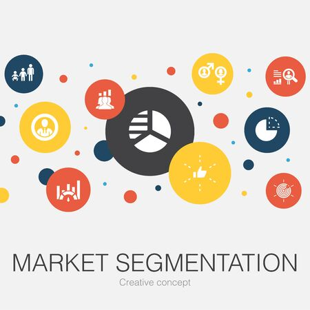 market segmentation trendy circle template with simple icons. Contains such elements as demography, segment, Age group