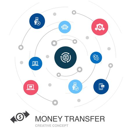 money transfer colored circle concept with simple icons. Contains such elements as online payment, bank transfer, secure, approved payment