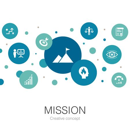 Mission trendy circle template with simple icons. Contains such elements as growth, passion, strategy