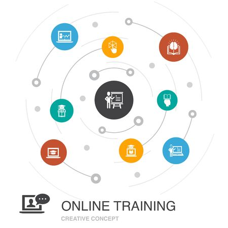 Online Training colored circle concept with simple icons. Contains such elements as Distance Learning, learning process,, seminar