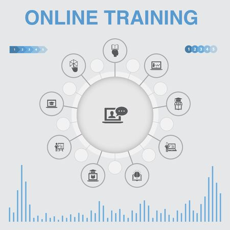 Online Training infographic with icons. Contains such icons as Distance Learning, learning process, elearning, seminar Ilustracja