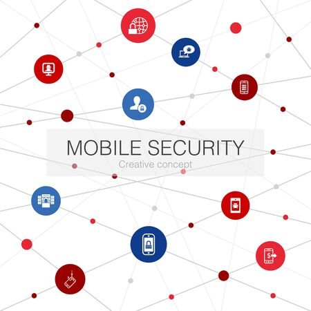mobile security trendy web template with simple icons. Contains such elements as mobile phishing, spyware, internet security