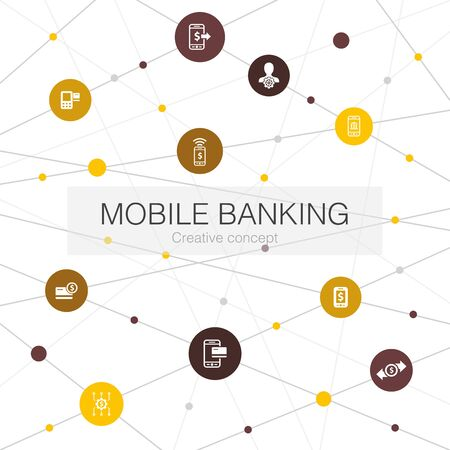 Mobile banking trendy web template with simple icons. Contains such elements as account, banking app, money transfer