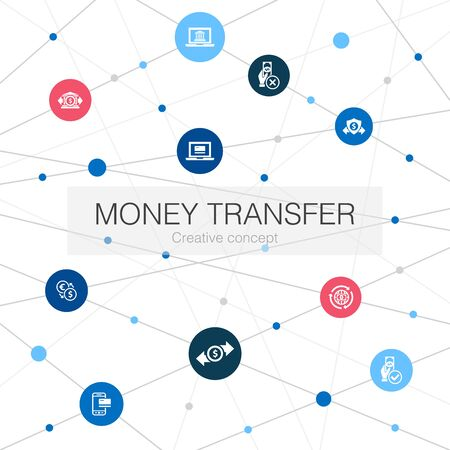 money transfer trendy web template with simple icons. Contains such elements as online payment, bank transfer, secure transaction