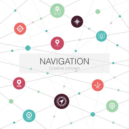 Navigation trendy web template with simple icons. Contains such elements as location, map, gps Ilustracja