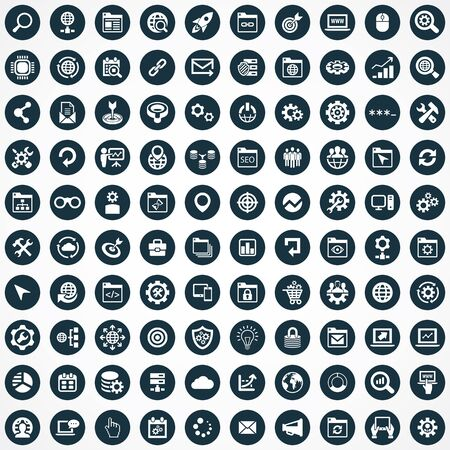 seo 100 icons universal set for web and mobile.