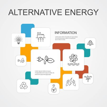 Alternative energy Infographic 10 line icons template.Solar Power, Wind Power, Geothermal Energy, Recycling simple icons Stock Illustratie