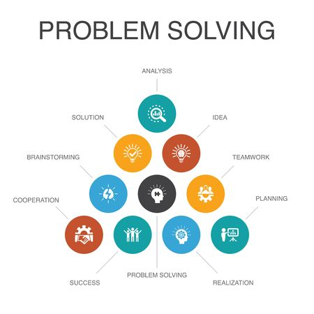 problem solving Infographic 10 steps concept.analysis, idea, brainstorming, teamwork simple icons Ilustracja