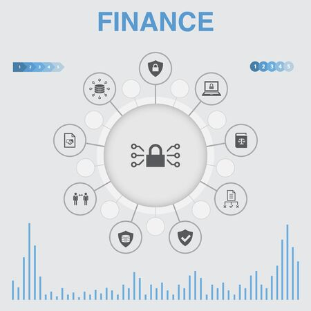 Finance infographic with icons. Contains such icons as Bank, Money, Graph, Exchange