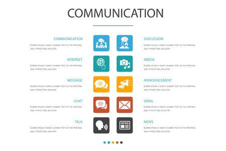 communication Infographic 10 option concept.internet, message, discussion, announcement simple icons Çizim