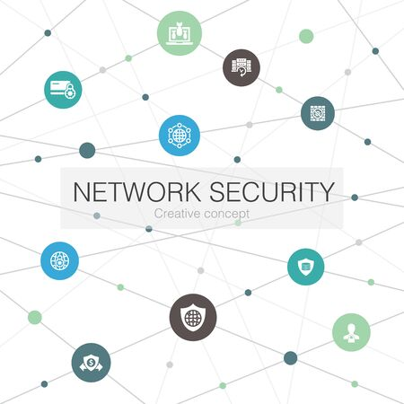 network security trendy web template with simple icons. Contains such elements as private network, online privacy, backup system, data
