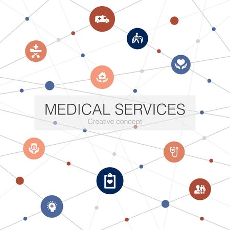 Medical services trendy web template with simple icons. Contains such elements as Emergency, Preventive care, patient, Prenatal care