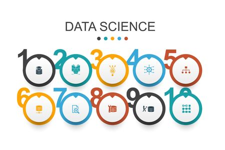 Data Science Infographic design template machine learning, Big Data, Database, Classification simple icons Ilustracja