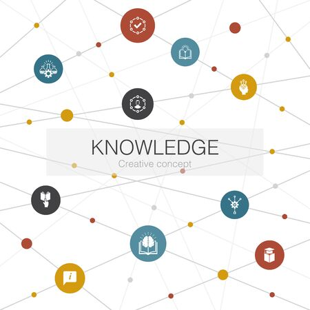 knowledge trendy web template with simple icons. Contains such elements as subject, education, information