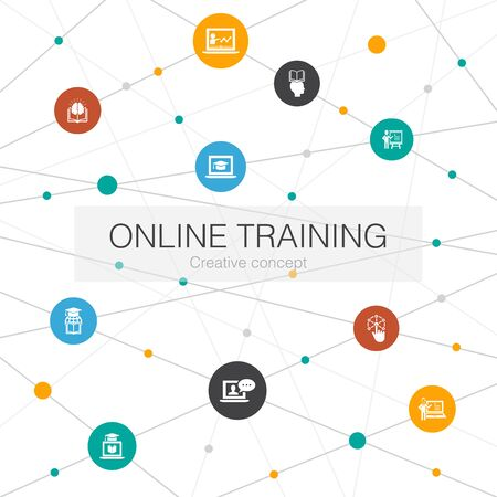 Online Training trendy web template with simple icons. Contains such elements as Distance Learning, learning process, elearning