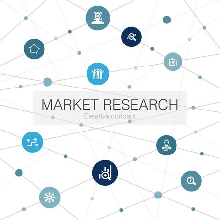 Market research trendy web template with simple icons. Contains such elements as strategy, investigation, survey Stock Illustratie