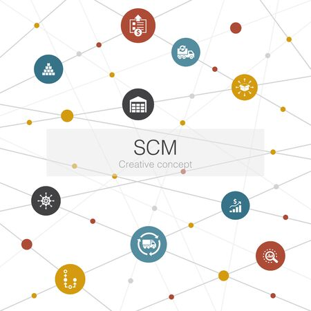 SCM trendy web template with simple icons. Contains such elements as management, analysis, distribution
