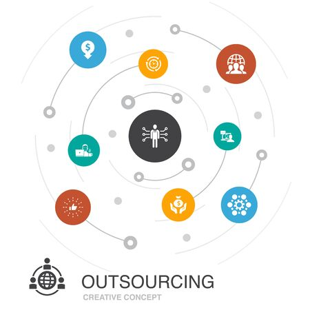 outsourcing colored circle concept with simple icons. Contains such elements as online interview, freelance, business process, team
