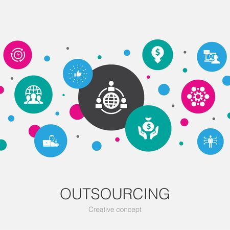 outsourcing trendy circle template with simple icons. Contains such elements as online interview, freelance, business process