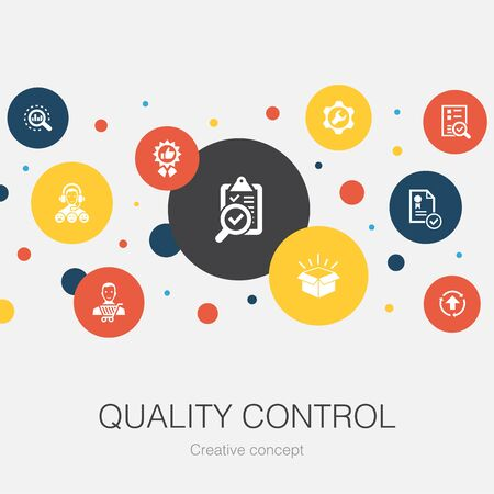 quality control trendy circle template with simple icons. Contains such elements as analysis, improvement, service level