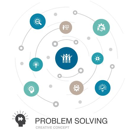 problem solving colored circle concept with simple icons. Contains such elements as analysis, idea, brainstorming