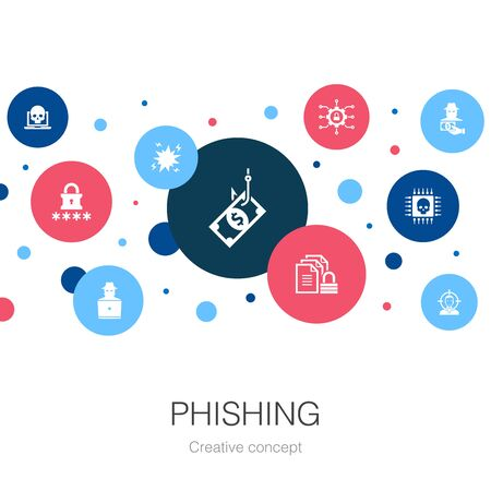 phishing trendy circle template with simple icons. Contains such elements as attack, hacker, cyber crime