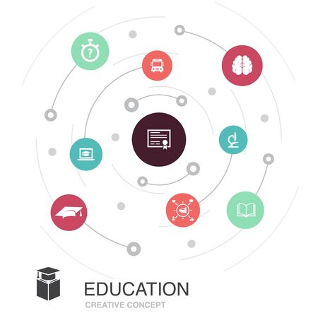 education colored circle concept with simple icons. Contains such elements as graduation, microscope, quiz