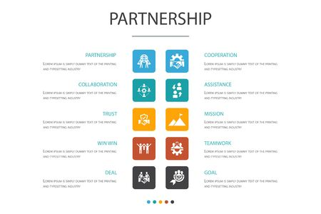 Partnership Infographic 10 option concept. collaboration, trust, deal, cooperation simple icons Ilustrace