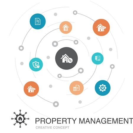 property management colored circle concept with simple icons. Contains such elements as leasing, mortgage, security deposit