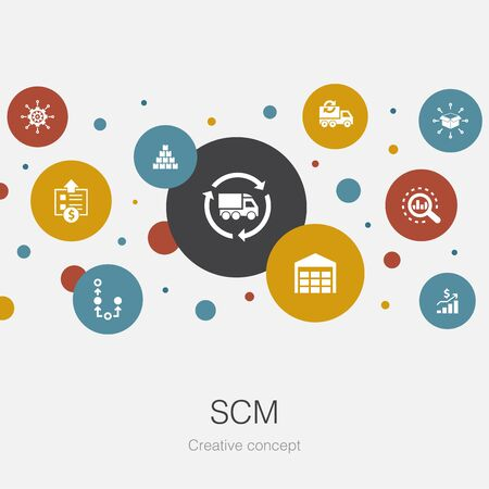 SCM trendy circle template with simple icons. Contains such elements as management, analysis, distribution