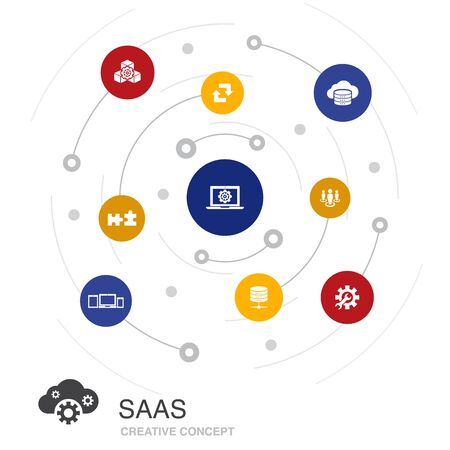 SaaS colored circle concept with simple icons. Contains such elements as cloud storage, configuration, software