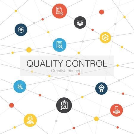 quality control trendy web template with simple icons. Contains such elements as analysis, improvement, service level Illusztráció