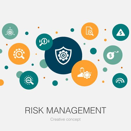 risk management trendy circle template with simple icons. Contains such elements as control, identify, Level of Risk 向量圖像