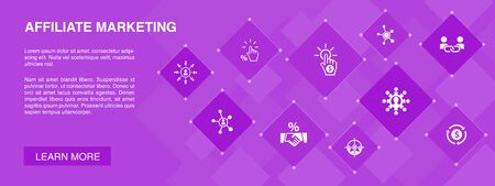 affiliate marketing banner 10 icons concept.Affiliate Link, Commission, Conversion, Cost per Click simple icons Illusztráció