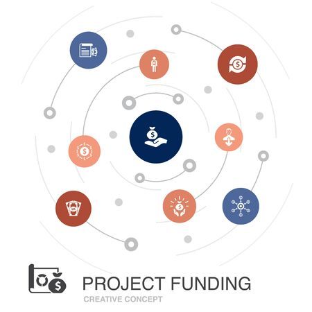 project funding colored circle concept with simple icons. Contains such elements as crowdfunding, grant, fundraising Ilustracja