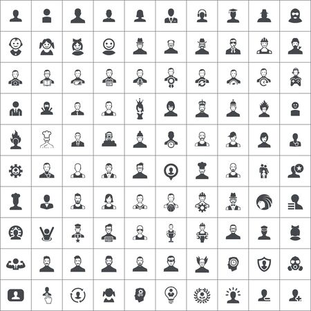 avatar 100 icons universal set for web and mobile Banque d'images - 131373877