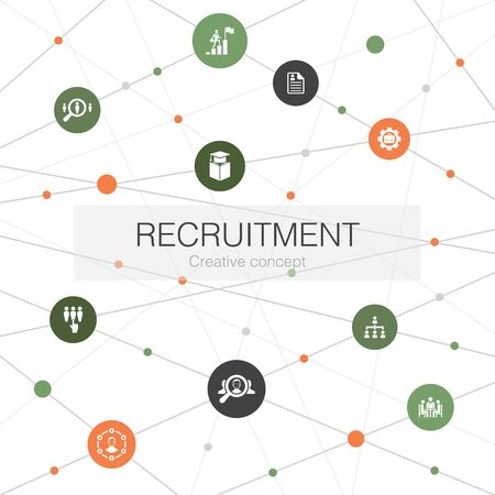 recruitment trendy web template with simple icons. Contains such elements as career, employment, position Ilustração