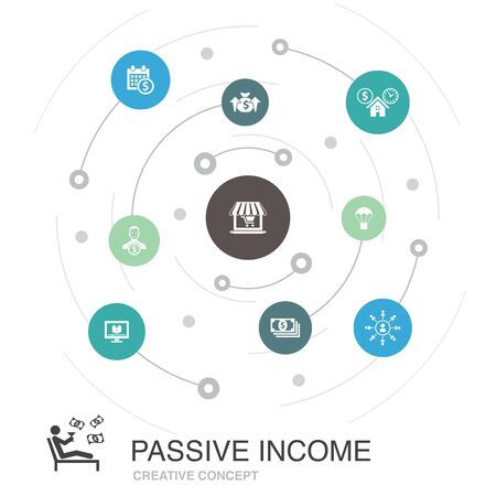 passive income colored circle concept with simple icons. Contains such elements as affiliate marketing, dividend income, online store, rental Illustration