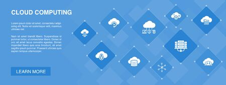 Cloud computing banner 10 icons concept. Cloud Backup, data center, SaaS, Service provider simple icons
