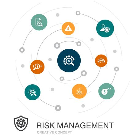 risk management colored circle concept with simple icons. Contains such elements as control, identify, Level of Risk Illusztráció