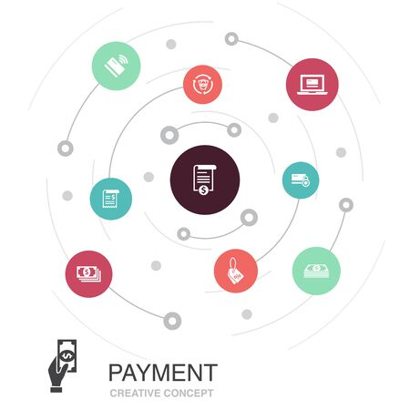 payment colored circle concept with simple icons. Contains such elements as Invoice, money, bill Stock Illustratie