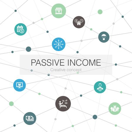 passive income trendy web template with simple icons. Contains such elements as affiliate marketing, dividend income, online store, rental Illustration