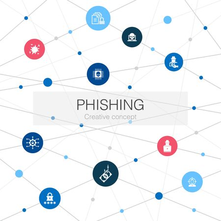 phishing trendy web template with simple icons. Contains such elements as attack, hacker, cyber crime