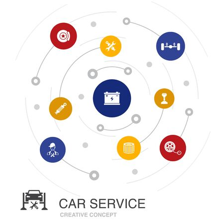 Car service colored circle concept with simple icons. Contains such elements as disk brake, suspension, spare parts Illustration